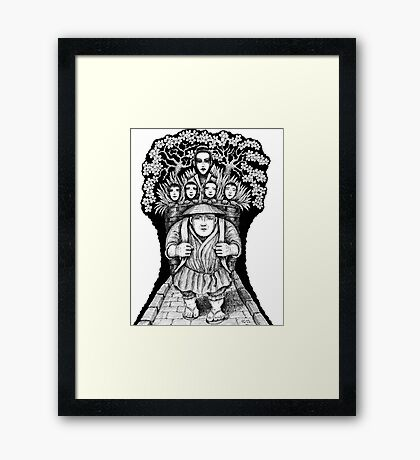 Night Escape surreal black and white pen ink drawing Framed Print