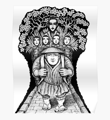 Night Escape surreal black and white pen ink drawing Poster