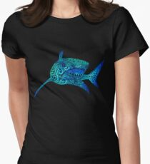Swirly Shark Womens Fitted T-Shirt