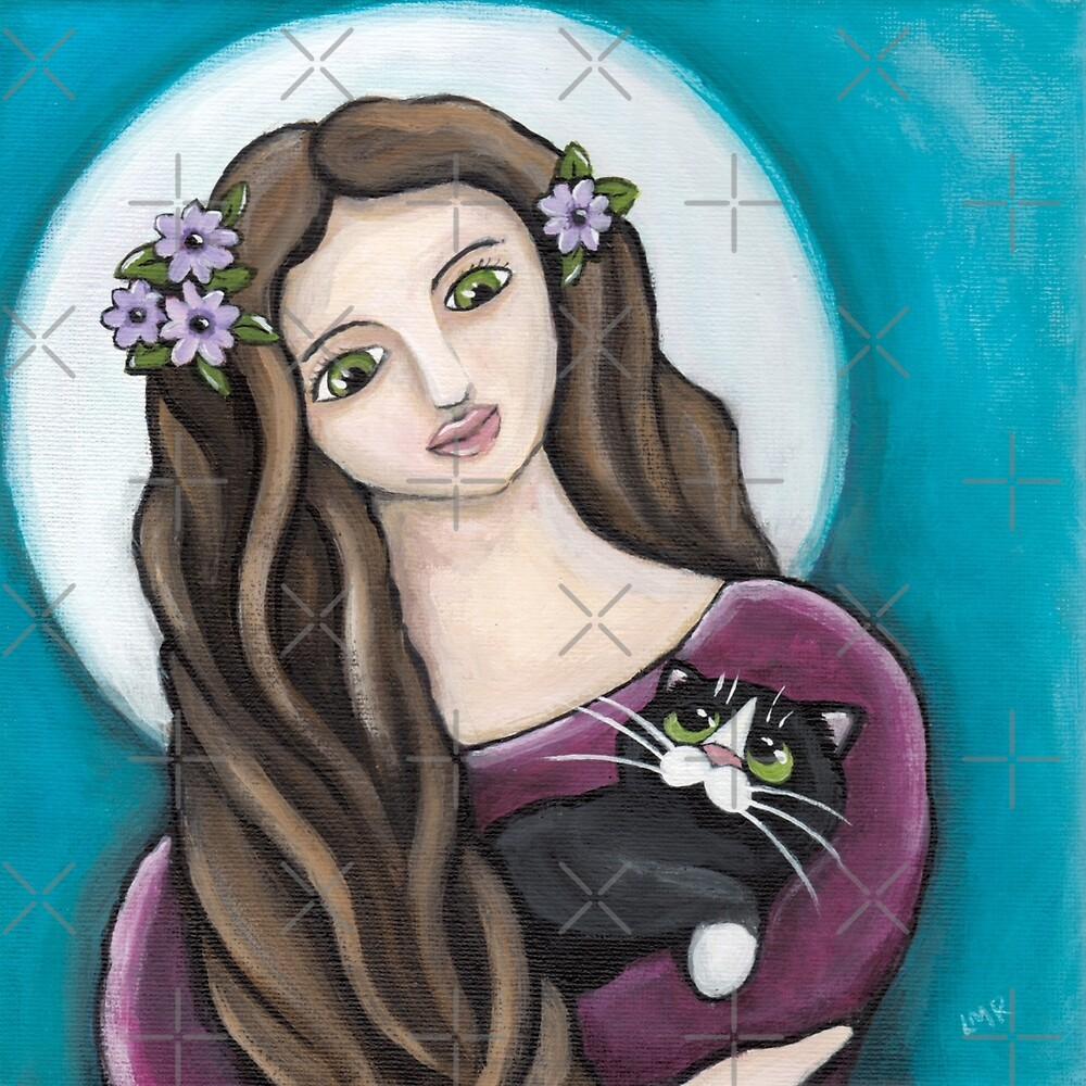 Motherly Love - Maiden & Tuxedo Cat by Lisa Marie Robinson