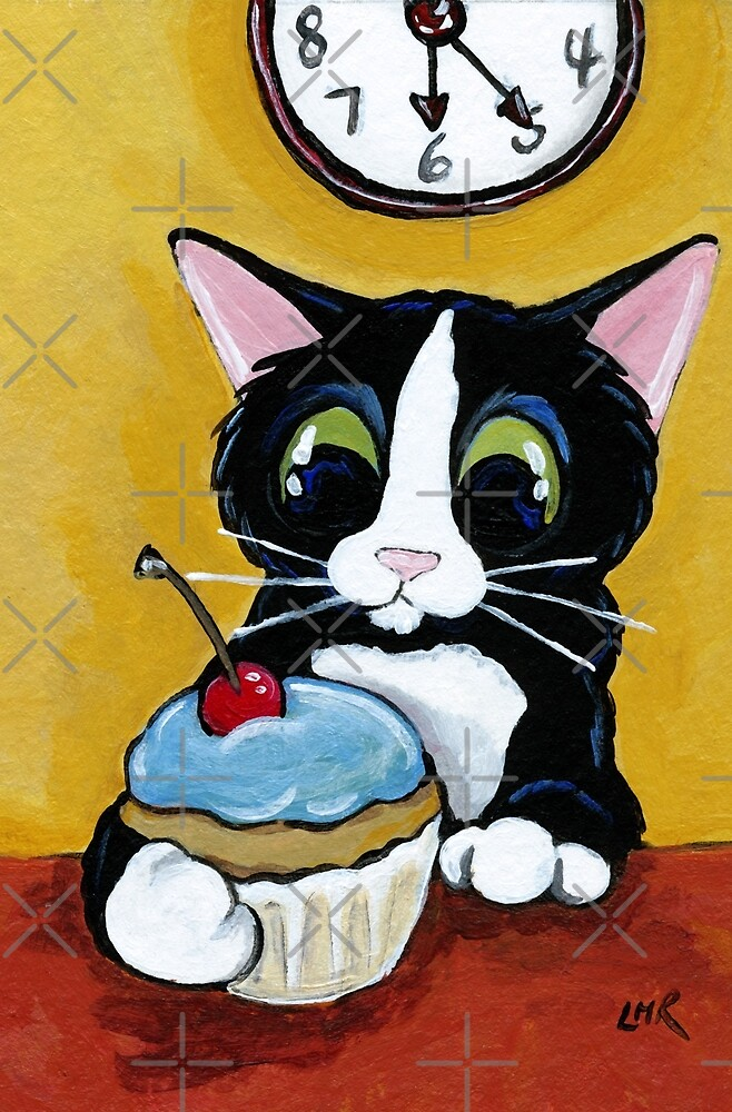 Tuxedo Cat with Cherry Cupcake by Lisa Marie Robinson