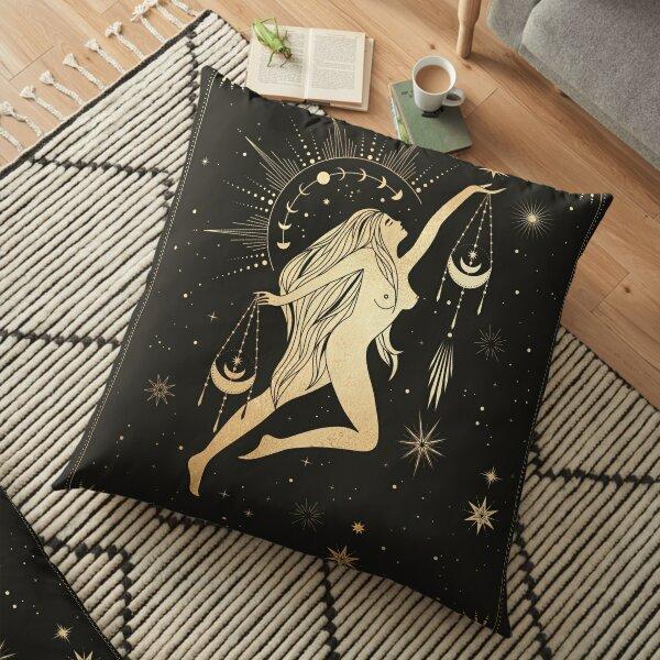 Balance signe du zodiaque doré Coussin de sol