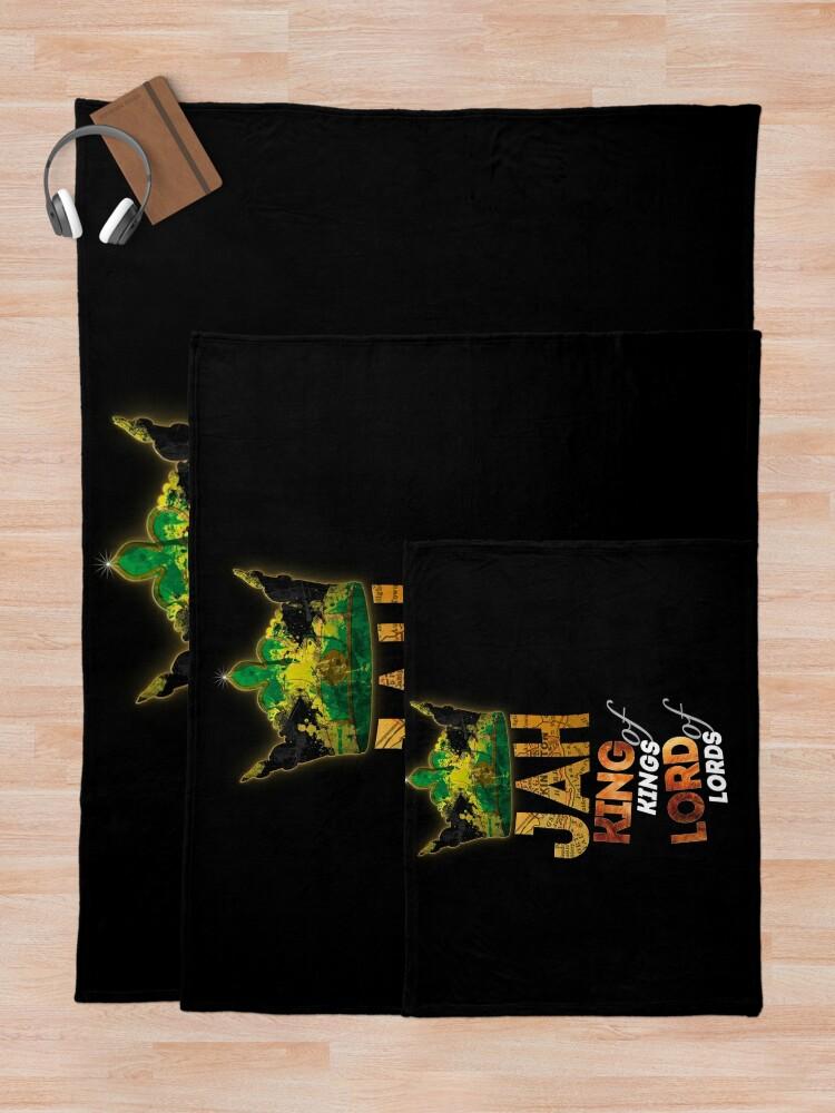 Alternate view of Jah King Of Kings Jamaica Rasta Flag Reggae Roots Dreads Throw Blanket