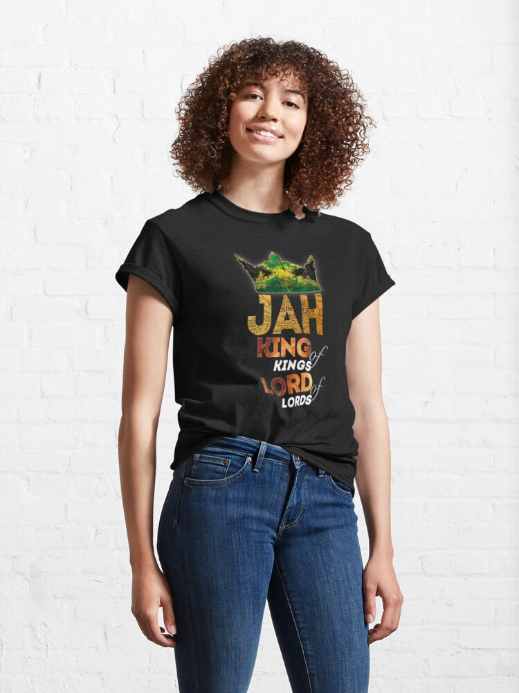 Alternate view of Jah King Of Kings Jamaica Rasta Flag Reggae Roots Dreads Classic T-Shirt