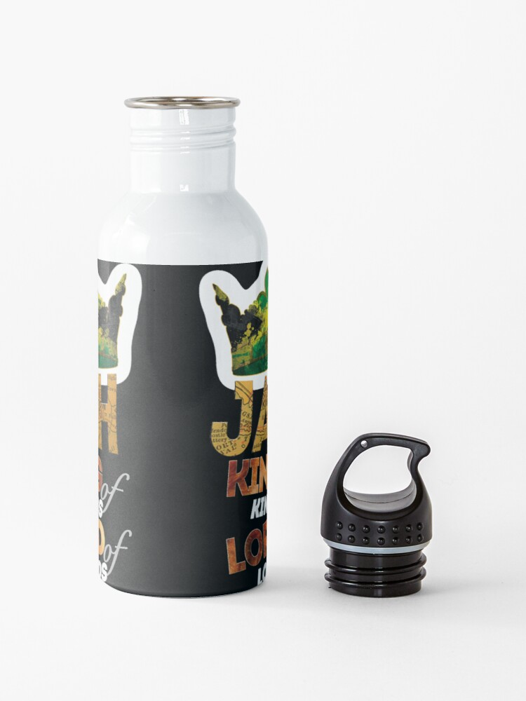 Alternate view of Jah King Of Kings Jamaica Rasta Flag Reggae Roots Dreads Water Bottle