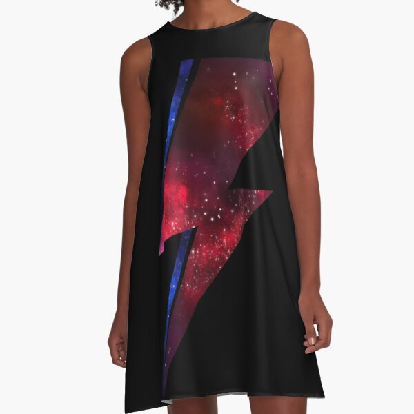 Spacial Lightening Bolt Bowie A-Line Dress