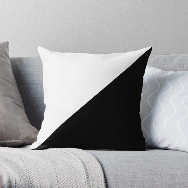 Diagonal half white & black Throw Pillow