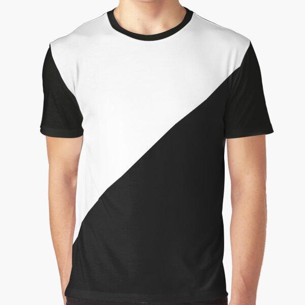 Diagonal half white & black Graphic T-Shirt