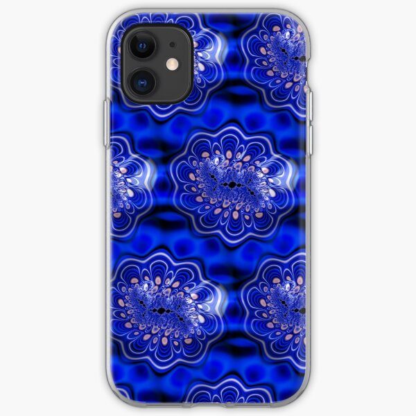 Funky Electric Blue Fractal Flower Abstract iPhone Soft Case