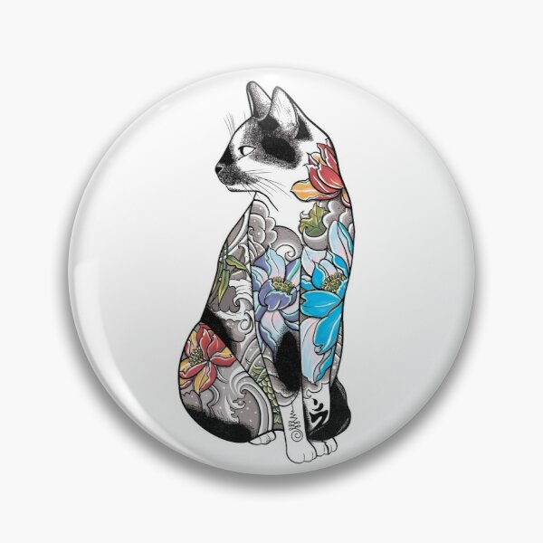 Cat in Lotus Tattoo Pin