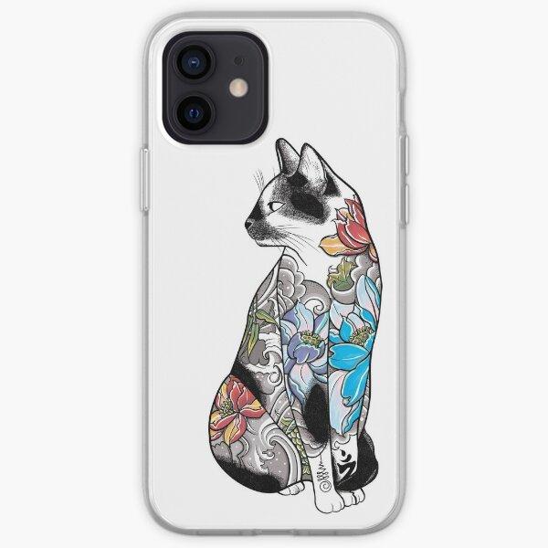 Cat in Lotus Tattoo iPhone Soft Case
