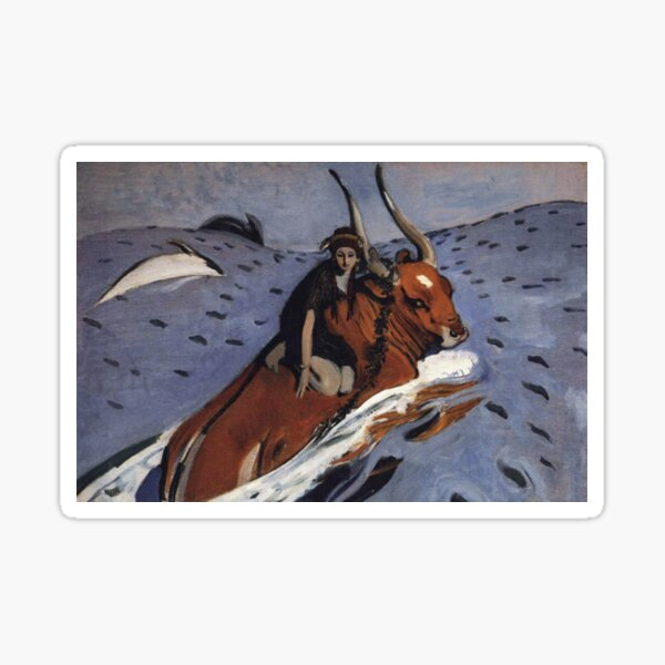 The Rape of Europa, Artwork, Artist: Valentin Serov, Created: 1910 Sticker