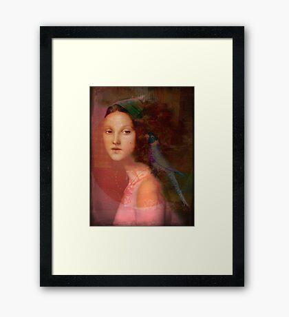Girl with parrot Framed Print