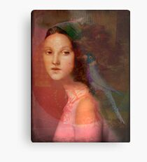 Girl with parrot Metal Print