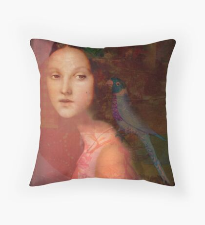 Girl with parrot Throw Pillow