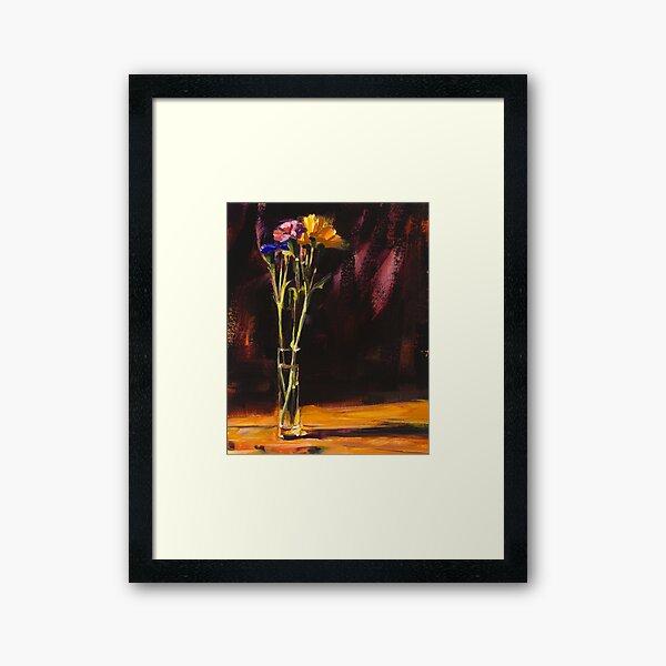 Pink Yellow & Blue Flowers Framed Art Print