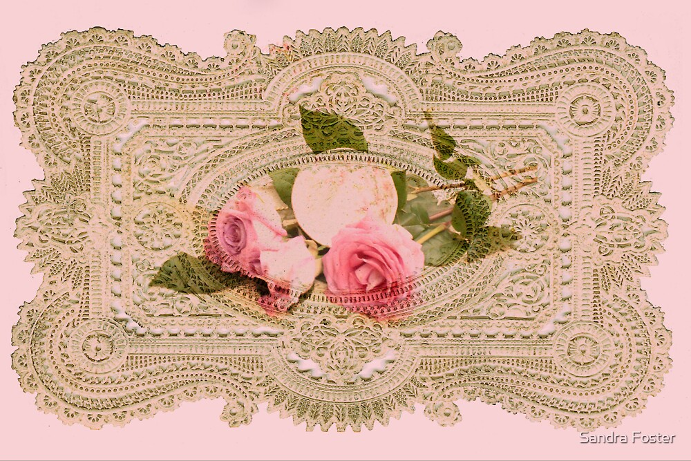 Paper Lace With Rose Inset  by Sandra Foster
