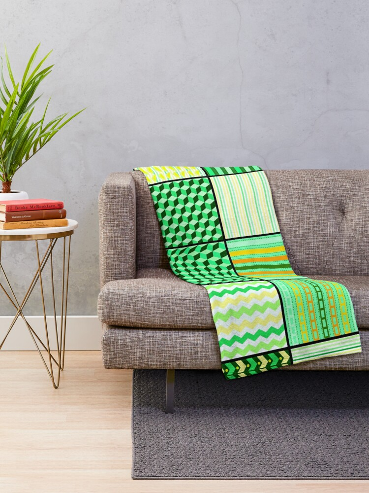 Alternate view of Funky Eclectic Green Patchwork Bohemian  Throw Blanket
