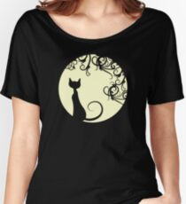 Black cat in the moon Women's Relaxed Fit T-Shirt