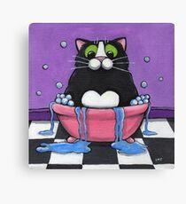 Fat Cat Takes A Bath Canvas Print