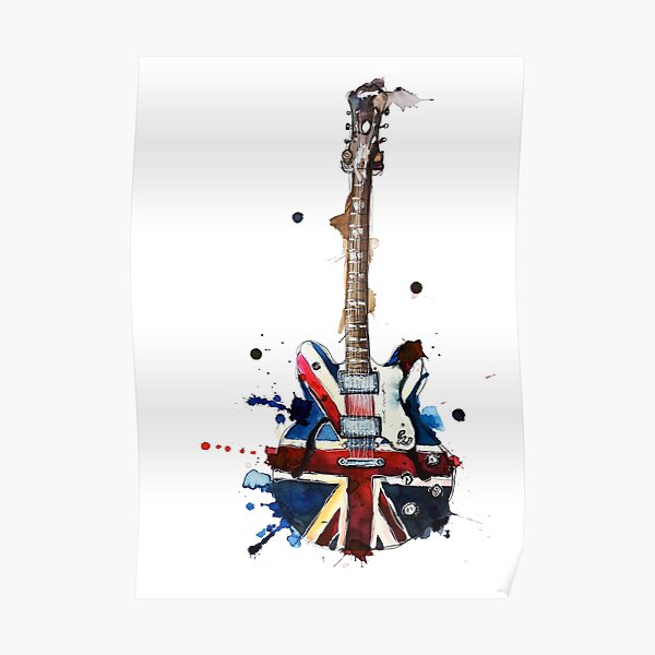 union jack epiphone oasis guitare électrique Poster