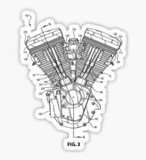 Harley Davidson Blockhead engine (patented) T-shirt etc Sticker