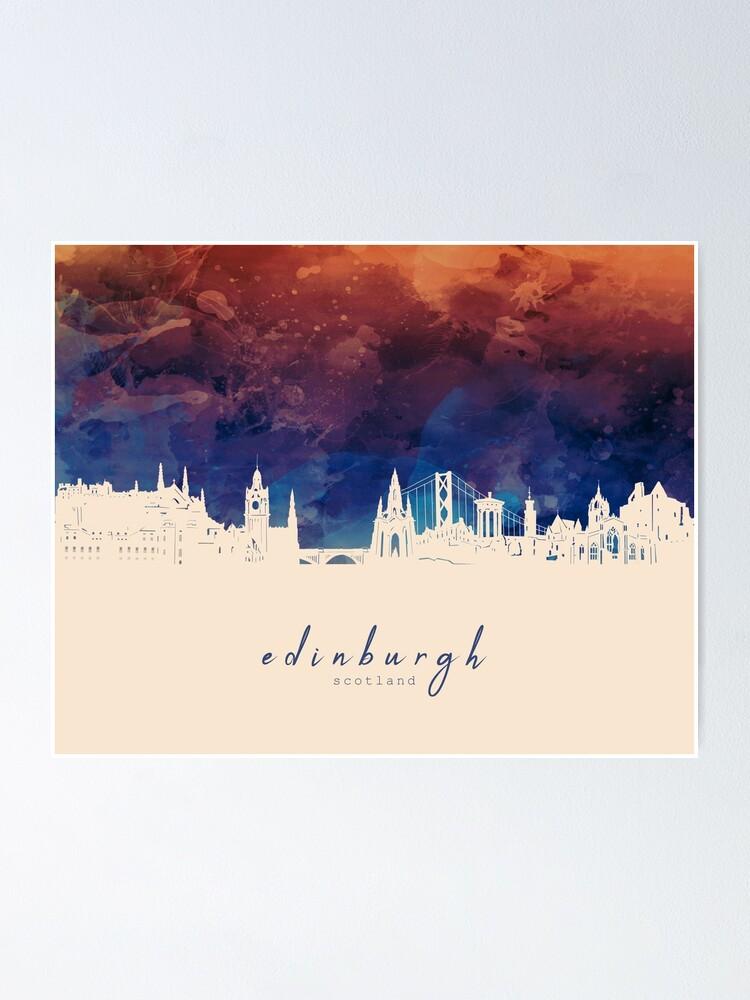 Edinburgh Scotland City Watercolor Skyline Sweatshirt