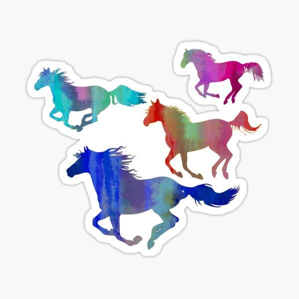 Four Running Horses 3 Sticker