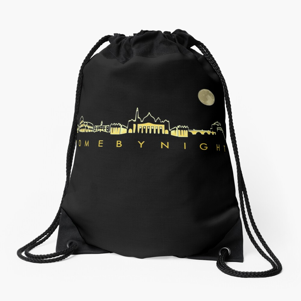 Rome By Night Panorama Roman City Silhouette Drawstring Bag