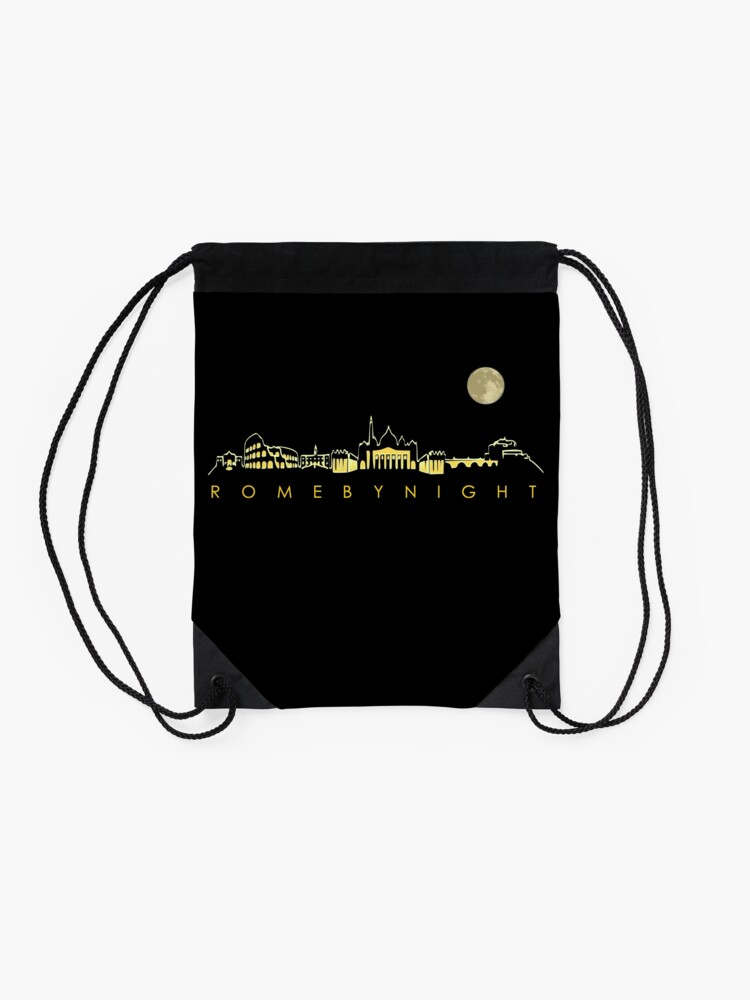 Alternate view of Rome By Night Panorama Roman City Silhouette Drawstring Bag