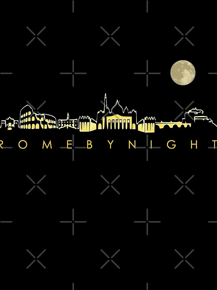 Rome By Night Panorama Roman City Silhouette by thespottydogg