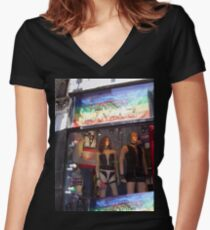 S&M Window-Greenwich Village, NYC, NY Women's Fitted V-Neck T-Shirt