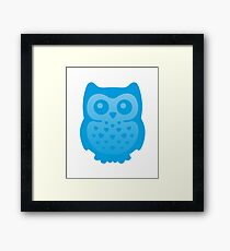 Cute Blue Baby Owl Framed Print