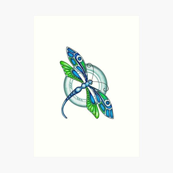 Deco Dragonfly Art Print