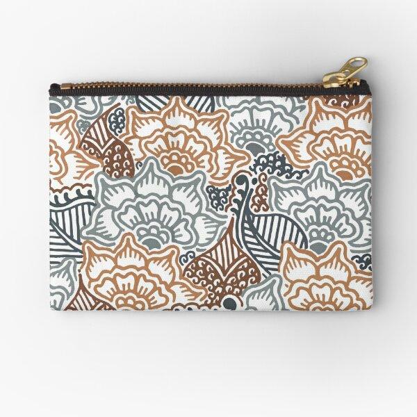 Grey and Brown Garden || Nature || Botanical || Henna || Pattern Zipper Pouch