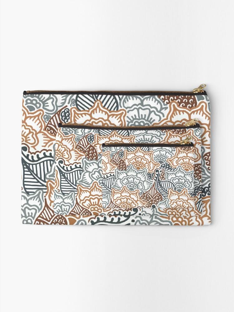 Alternate view of Grey and Brown Garden || Nature || Botanical || Henna || Pattern Zipper Pouch