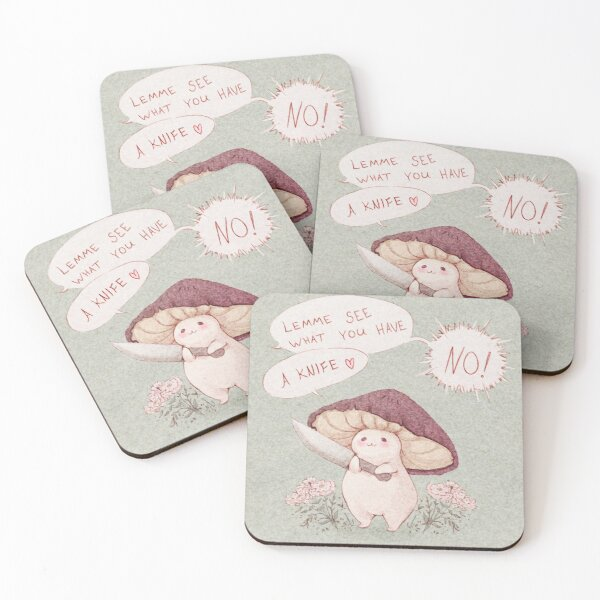 Let me see what you have little Mushroom - text  Coasters (Set of 4)