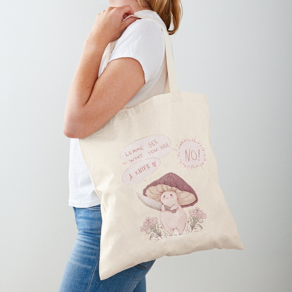 Let me see what you have little Mushroom - text  Tote Bag