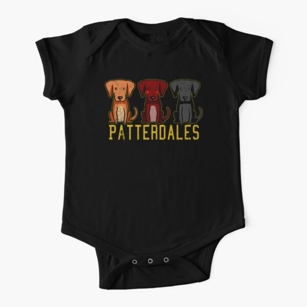 Black Brown Tan Patterdale Terrier Dogs Funny Faded Vintage  Short Sleeve Baby One-Piece