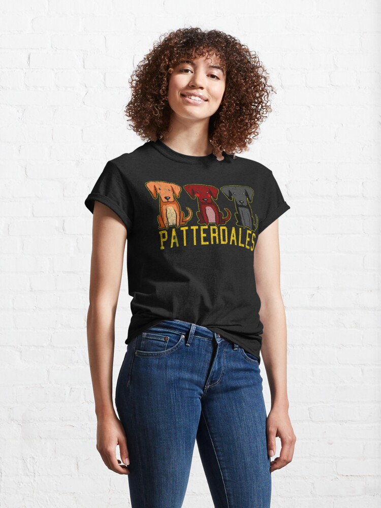 Alternate view of Black Brown Tan Patterdale Terrier Dogs Funny Faded Vintage  Classic T-Shirt