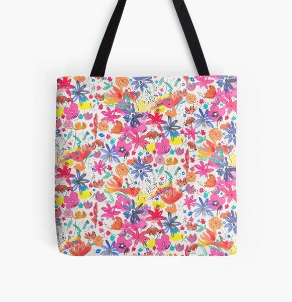 Blühen in Wasserfarben Allover-Print Tote Bag