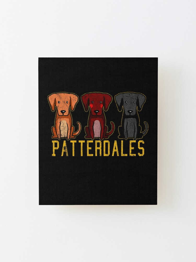 Alternate view of Black Brown Tan Patterdale Terrier Dogs Funny Faded Vintage  Mounted Print