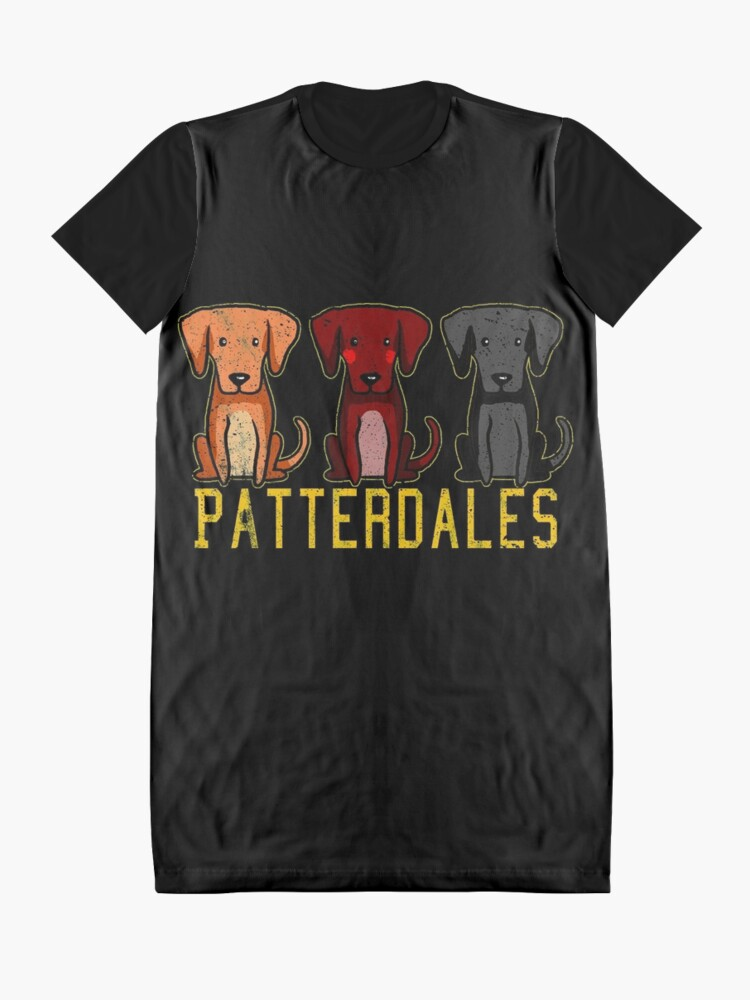 Alternate view of Black Brown Tan Patterdale Terrier Dogs Funny Faded Vintage  Graphic T-Shirt Dress