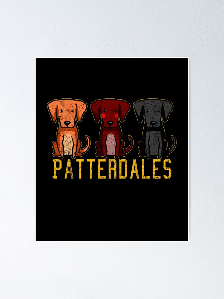 Alternate view of Black Brown Tan Patterdale Terrier Dogs Funny Faded Vintage  Poster