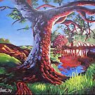 Old tree at pond by Dan Wilcox