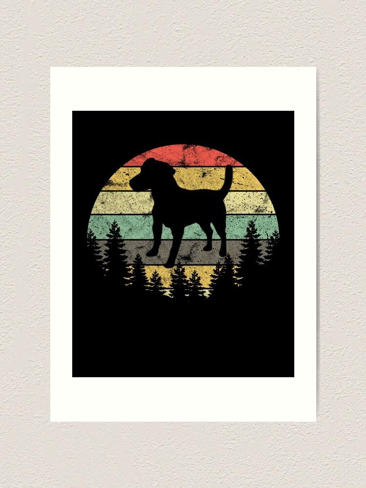 Alternate view of Patterdale Terrier Dog Retro Sun Forest Patterdale Puppy Art Print