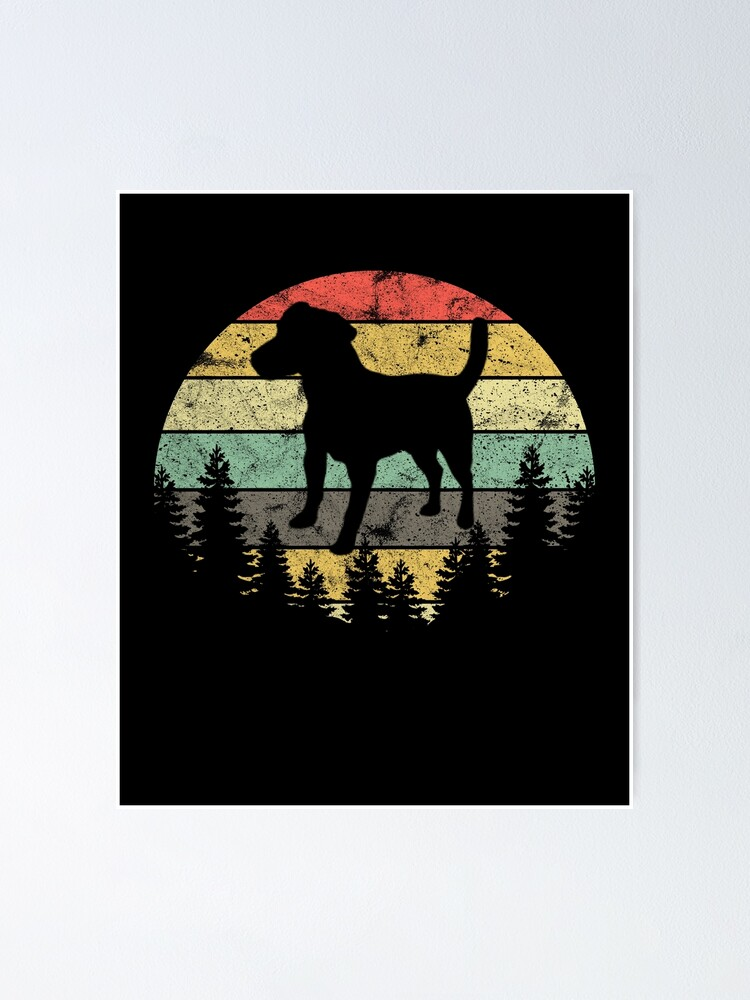 Alternate view of Patterdale Terrier Dog Retro Sun Forest Patterdale Puppy Poster