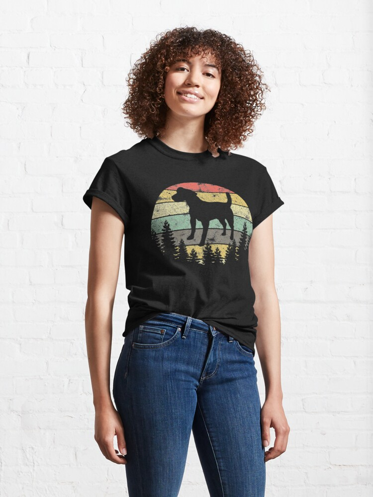 Alternate view of Patterdale Terrier Dog Retro Sun Forest Patterdale Puppy Classic T-Shirt
