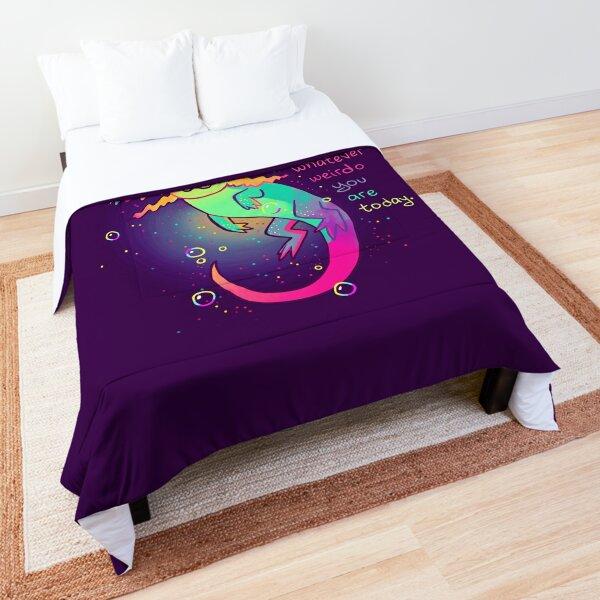 """It's Okay to Be Whatever Weirdo You Are Today"" Rainbow Axolotl Comforter"