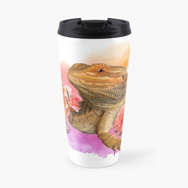 Bearded Dragon Floral Watercolor Travel Mug